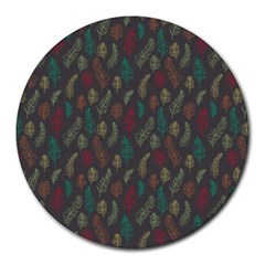 Whimsical Feather Pattern, Autumn Colors, Round Mousepad by Zandiepants