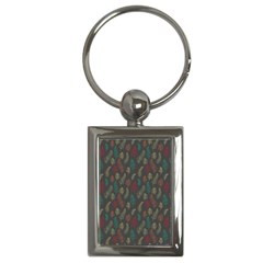 Whimsical Feather Pattern, Autumn Colors, Key Chain (rectangle) by Zandiepants