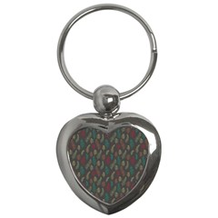 Whimsical Feather Pattern, Autumn Colors, Key Chain (heart) by Zandiepants