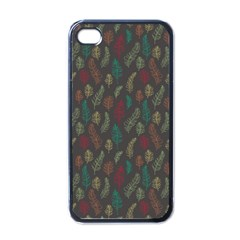 Whimsical Feather Pattern, Autumn Colors, Apple Iphone 4 Case (black) by Zandiepants