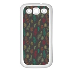 Whimsical Feather Pattern, Autumn Colors, Samsung Galaxy S3 Back Case (white) by Zandiepants