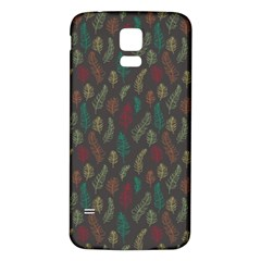 Whimsical Feather Pattern, Autumn Colors, Samsung Galaxy S5 Back Case (white) by Zandiepants