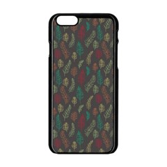 Whimsical Feather Pattern, Autumn Colors, Apple Iphone 6/6s Black Enamel Case by Zandiepants