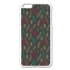 Whimsical Feather Pattern, Autumn Colors, Apple Iphone 6 Plus/6s Plus Enamel White Case by Zandiepants