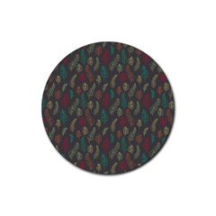 Whimsical Feather Pattern, Autumn Colors, Rubber Round Coaster (4 Pack) by Zandiepants