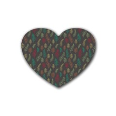 Whimsical Feather Pattern, Autumn Colors, Heart Coaster (4 Pack) by Zandiepants