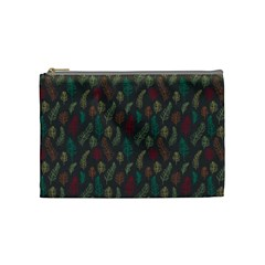 Whimsical Feather Pattern, Autumn Colors, Cosmetic Bag (medium) by Zandiepants