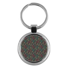 Whimsical Feather Pattern, Autumn Colors, Key Chain (round) by Zandiepants