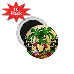 Tropical Design With Flamingo And Palm Tree 1 75  Magnets (10 Pack)  by FantasyWorld7