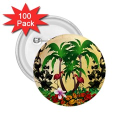 Tropical Design With Flamingo And Palm Tree 2 25  Buttons (100 Pack)  by FantasyWorld7