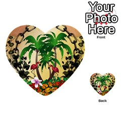 Tropical Design With Flamingo And Palm Tree Multi Purpose Cards (heart)  by FantasyWorld7