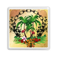 Tropical Design With Flamingo And Palm Tree Memory Card Reader (square)  by FantasyWorld7