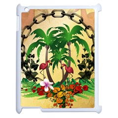Tropical Design With Flamingo And Palm Tree Apple Ipad 2 Case (white) by FantasyWorld7