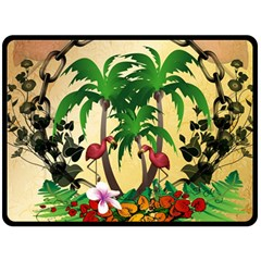 Tropical Design With Flamingo And Palm Tree Double Sided Fleece Blanket (large)  by FantasyWorld7