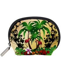 Tropical Design With Flamingo And Palm Tree Accessory Pouches (small)  by FantasyWorld7