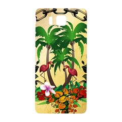 Tropical Design With Flamingo And Palm Tree Samsung Galaxy Alpha Hardshell Back Case by FantasyWorld7
