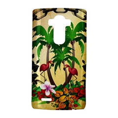Tropical Design With Flamingo And Palm Tree Lg G4 Hardshell Case by FantasyWorld7
