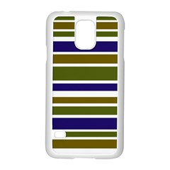 Olive Green Blue Stripes Pattern Samsung Galaxy S5 Case (white) by BrightVibesDesign