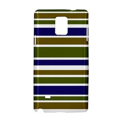 Olive Green Blue Stripes Pattern Samsung Galaxy Note 4 Hardshell Case by BrightVibesDesign