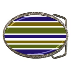 Olive Green Blue Stripes Pattern Belt Buckles by BrightVibesDesign