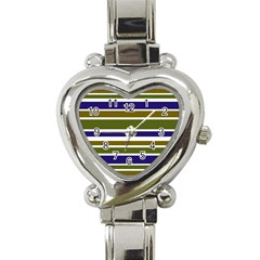 Olive Green Blue Stripes Pattern Heart Italian Charm Watch by BrightVibesDesign