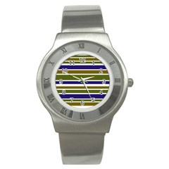 Olive Green Blue Stripes Pattern Stainless Steel Watch by BrightVibesDesign