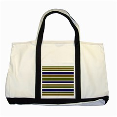 Olive Green Blue Stripes Pattern Two Tone Tote Bag by BrightVibesDesign