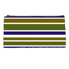 Olive Green Blue Stripes Pattern Pencil Cases by BrightVibesDesign