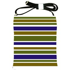 Olive Green Blue Stripes Pattern Shoulder Sling Bags by BrightVibesDesign
