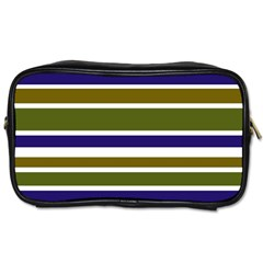 Olive Green Blue Stripes Pattern Toiletries Bags 2-Side by BrightVibesDesign