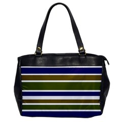 Olive Green Blue Stripes Pattern Office Handbags by BrightVibesDesign