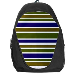 Olive Green Blue Stripes Pattern Backpack Bag by BrightVibesDesign
