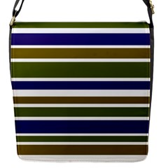 Olive Green Blue Stripes Pattern Flap Messenger Bag (s) by BrightVibesDesign