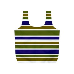 Olive Green Blue Stripes Pattern Full Print Recycle Bags (S)  by BrightVibesDesign