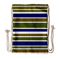 Olive Green Blue Stripes Pattern Drawstring Bag (Large) by BrightVibesDesign