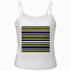Olive Green Blue Stripes Pattern White Spaghetti Tank by BrightVibesDesign