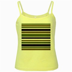 Olive Green Blue Stripes Pattern Yellow Spaghetti Tank by BrightVibesDesign