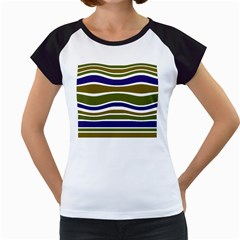 Olive Green Blue Stripes Pattern Women s Cap Sleeve T by BrightVibesDesign