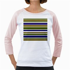 Olive Green Blue Stripes Pattern Girly Raglans by BrightVibesDesign