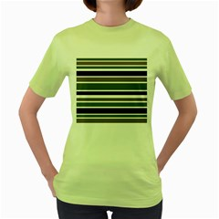 Olive Green Blue Stripes Pattern Women s Green T-Shirt by BrightVibesDesign