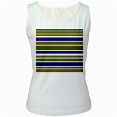 Olive Green Blue Stripes Pattern Women s White Tank Top by BrightVibesDesign