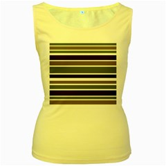 Olive Green Blue Stripes Pattern Women s Yellow Tank Top by BrightVibesDesign