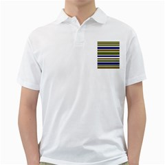 Olive Green Blue Stripes Pattern Golf Shirts by BrightVibesDesign