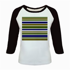 Olive Green Blue Stripes Pattern Kids Baseball Jerseys by BrightVibesDesign
