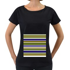 Olive Green Blue Stripes Pattern Women s Loose Fit T Shirt (black) by BrightVibesDesign