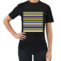 Olive Green Blue Stripes Pattern Women s T-Shirt (Black) by BrightVibesDesign