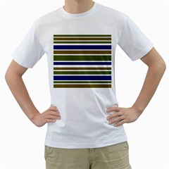 Olive Green Blue Stripes Pattern Men s T-Shirt (White)  by BrightVibesDesign