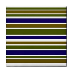 Olive Green Blue Stripes Pattern Tile Coasters by BrightVibesDesign