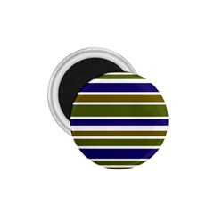 Olive Green Blue Stripes Pattern 1 75  Magnets by BrightVibesDesign
