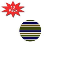 Olive Green Blue Stripes Pattern 1  Mini Buttons (10 pack)  by BrightVibesDesign